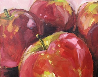 UNITED WE STAND small original apple oil painting by Jean Delaney size 6 x 6 inch on gessobord