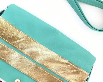 Messenger bag in aqua turqoise leather and black white stripes, Small cross body, hipster, stripes, boho, leather bag, glam