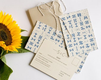 Blue pattern wedding invitation, information and RSVP card SAMPLE*