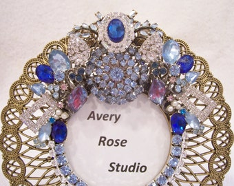 Jeweled Open Metal Picture Frame. Birthday, Wedding, Shower, Bridesmaid, Anniversary, Valentine's Day Gift.