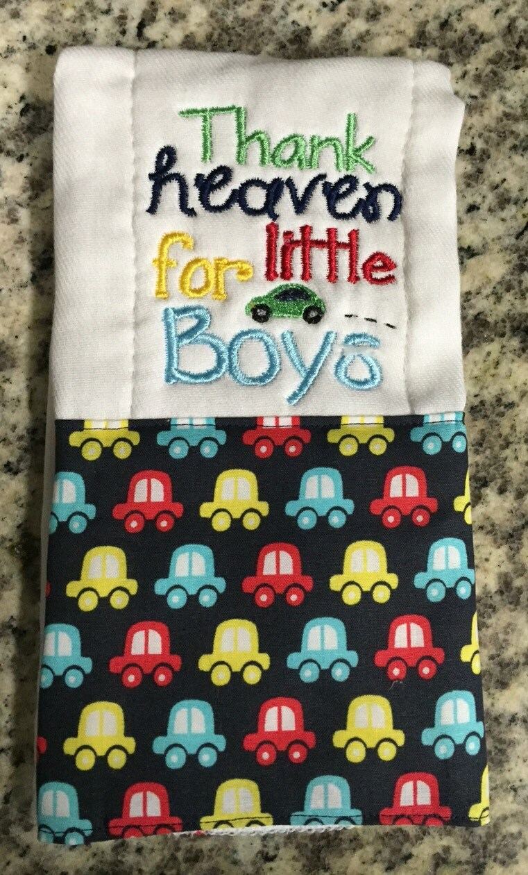Boy Burp Cloth Car Burp Cloth Baby Gift Embroidered Burp