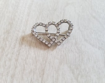 Vintage Rhinestone Double Hearts Brooch Wear your Heart on your Sleeve