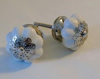 Decorative Knob, Ceramic, Fancy, White with Silver Filigree, Drawer Knob, Cabinet Knobs