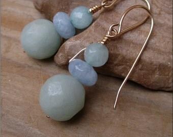 Amazonite earrings Ocean earrings Gemstone earrings Classic earrings Everyday earrings Blue and green earrings Gold filled gemstone jewelry