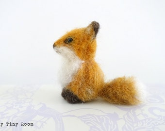 Felted Fox , Needle Felted Fox, Felt Animal, Felt Fox, Fox, Miniature Fox, Cure Fox, Needle Felted Animal