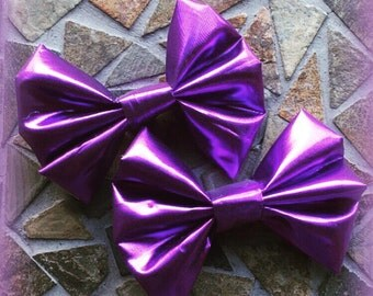 Halloween Purple Metallic Hair Bow Set of 2