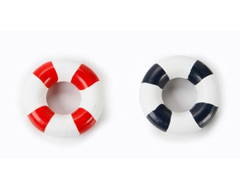 Life Ring Preserver Nautical Dollhouse Miniature Set of 2 Embellishment Buttons