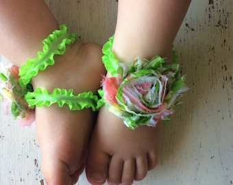 Barefoot sandals; baby barefoot sandals;lime floral sandal ; toddler barefoot sandal; sandal