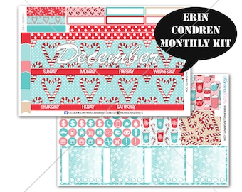 PEPPERMINT Stickers MONTHLY Planner Kit, for Erin Condren Stickers, Life Planner Sticker, Monthly Sticker Kit, December planner #SQ00726-Ec