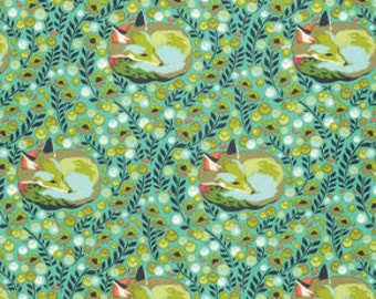 CHIPPER by Tula Pink for Free Spirit Fabrics - Fox Nap in Mint