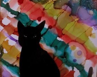 "Original Painting 5x7""  Black Cat Colors Colorful Stripes Circles"