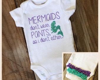 Mermaids Don't Wear Pants onesie bodysuit with ruffles on the butt - Purple & Aqua - glitter, onesie, newborn, baby, infant