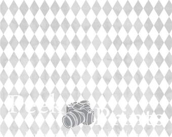6ft.x6ft. Vintage Grey Argyle Vinyl Photography Backdrop - Circus Background - Boy Backdrop - Photo Background