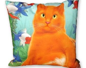 Cat pillow ORANGE KING Orange velvet cushion cover