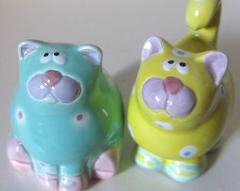 Vintage Fitz and Floyd Cat Salt and Pepper Shakers