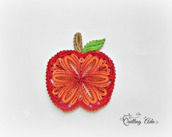 Quilled apple – red apple ornament – quilling fruits -  home decor – paper fruit – Christmas decoration