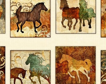 Unbridled, Horses Picture Patches on Cream cotton fabric, by Dan Morris