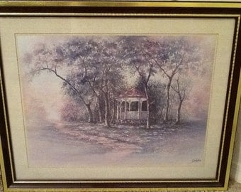 Vintage Lg. Joe Sambataro Gazebo Print <> Framed and Matted <> Home Interiors <> Gazebo in Springtime <> 1970's <> EXCELLENT CONDITION