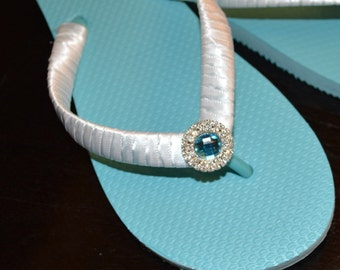 Bridal Party Wedding Flip Flops *BLUE* light blue flats or wedge with turquoise rhinestone