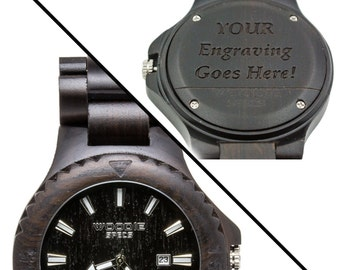 Handcrafted Mens Wood Watch Made From 100% Natural Ebony Wood. FREE Custom Engraving!