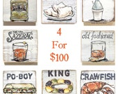 Set of 4 Wood Signs: New Orleans Wall Art, New Orleans Art, Southern Art, Rustic Home Decor, New Orleans Gift, Cocktail Art, Mardi Gras Art