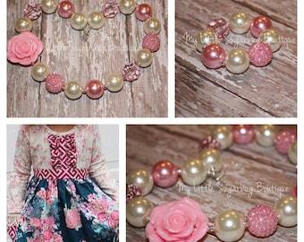 Flora Chunky Necklace-Pink-Cream Pearls-Valentines-Bubblegum Necklace-Baby-Toddler-Girls-Women