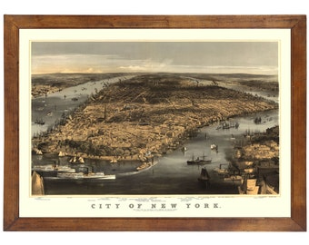 New York, NY 1856 Bird's Eye View; 24x36 Print from a Vintage Lithograph