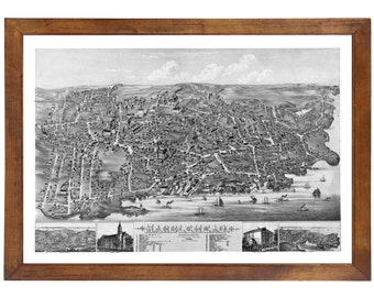 Marblehead, MA 1882 Bird's Eye View; 24x36 Print from a Vintage Lithograph