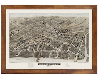Schenectady, NY 1875 Bird's Eye View; 24x36 Print from a Vintage Lithograph