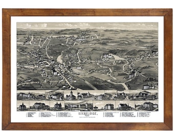 Uxbridge, MA 1880 Bird's Eye View; 24x36 Print from a Vintage Lithograph