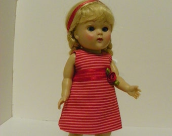 "7 1/2 ""Ginny doll clothes - Party dress in a candy stripe red and pink print"