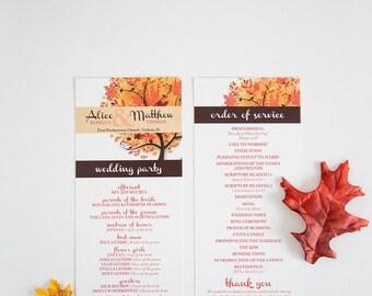 Autumn Wedding Program, Fall Wedding Program, Windy Day Tree Wedding Program, Ceremony Program