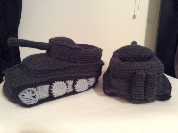 Knitting Pattern For Army Tank Slippers : Crochet tank slippers Panzer Tank slippers by StarrySkiesBoutique