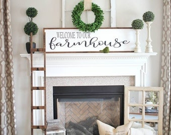 Welcome to our farmhouse custom wood framed sign