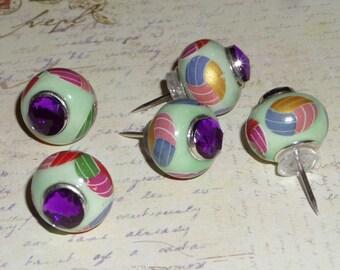 Glass big hole bead Push Pins Thumb tacks - Mint green