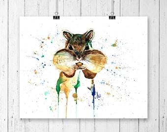 CHIPMUINK PRINT, Woodland art, chipmunk art, watercolour chipmunk print,nursery art, woodland theme, nursery decor, cottage chic