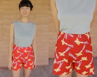 Handmade one of a kind high waist shorts made from vintage fabric aeroplane, pop art print