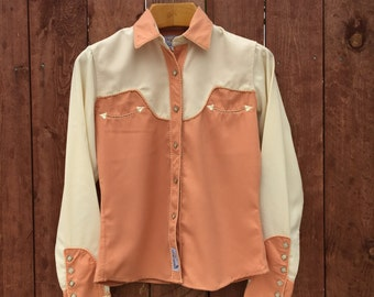 Salmon/ Ivory / Panhandle Slim/ Women's Western Shirt/ Pearl Snaps/ Size Small