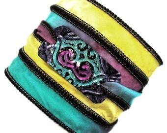 Silk wrap bracelet boho,gipsy,bohemian, summer