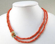 Old Coral Necklace Mediterranean Coral Jewelry Red Coral Beads Carved Coral Clasp Natural Coral Vintage Collectilbes