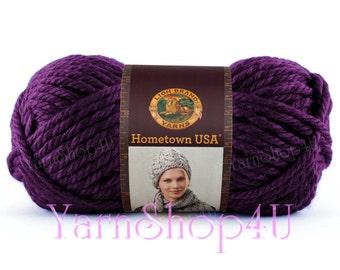 PORTLAND WINE, Purple Hometown USA by Lionbrand, Super Bulky Purple Yarn, Bulky Purple yarn, Thick Purple yarn, 5 oz acrylic yarn, usa Made