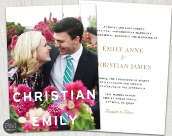 Modern and Chic Wedding Photo Invitation    Printable   DIY   5x7
