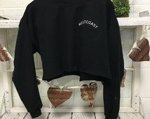 WESTCOAST Crop top Sweatshirt BLACK Cropped Best Coast Sweater Embroidered West Coast American Apparel Usa Made