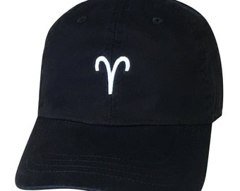 Aries Zodiac Horoscope Sign Embroidered Black Acrylic Low Profile Curved Bill Baseball Hat Cap