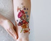 Vintage floral temporary tattoo / boho temporary tattoo / festival temporary tattoo / bohemian temporary tattoo / festival accessoire
