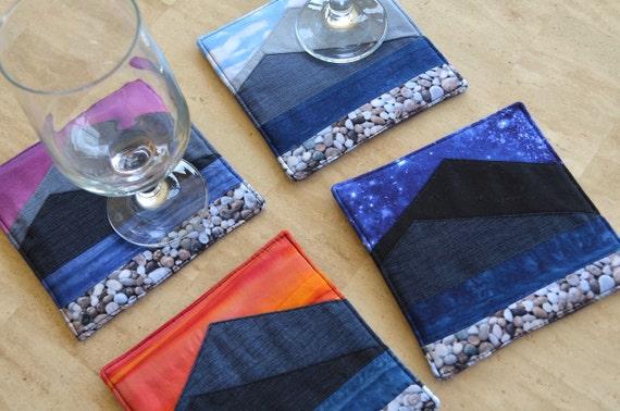 Mountain coasters, fabric drink mats, fabric art, makeforgood, scenic day night, sunrise, sunset, blue grey coaster set, insulated mug rugs