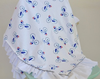 Sweet blue bicycle and red flowers Ruffled Baby Blanket