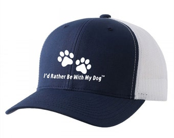 Navy Trucker Hat - I'd Rather Be With My Dog