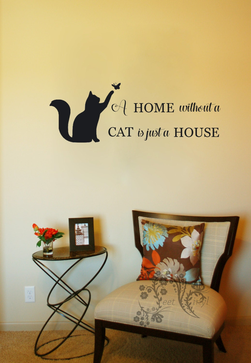 A home without a cat is just a house - Family wall Decals - Wall ...