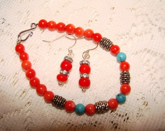 Handmade Beaded Coral And Turquoise Bracelet With Beaded Coral Glass Earrings